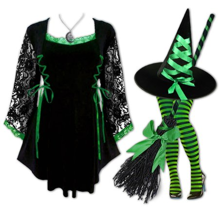 Plus and Regular Size Women's Halloween Witch Costume with Anastasia Top, Hat and Tights - Halloween Top Hat Costumes