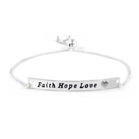 Italian Sterling Silver Faith Hope Love Adjustable Bracelet