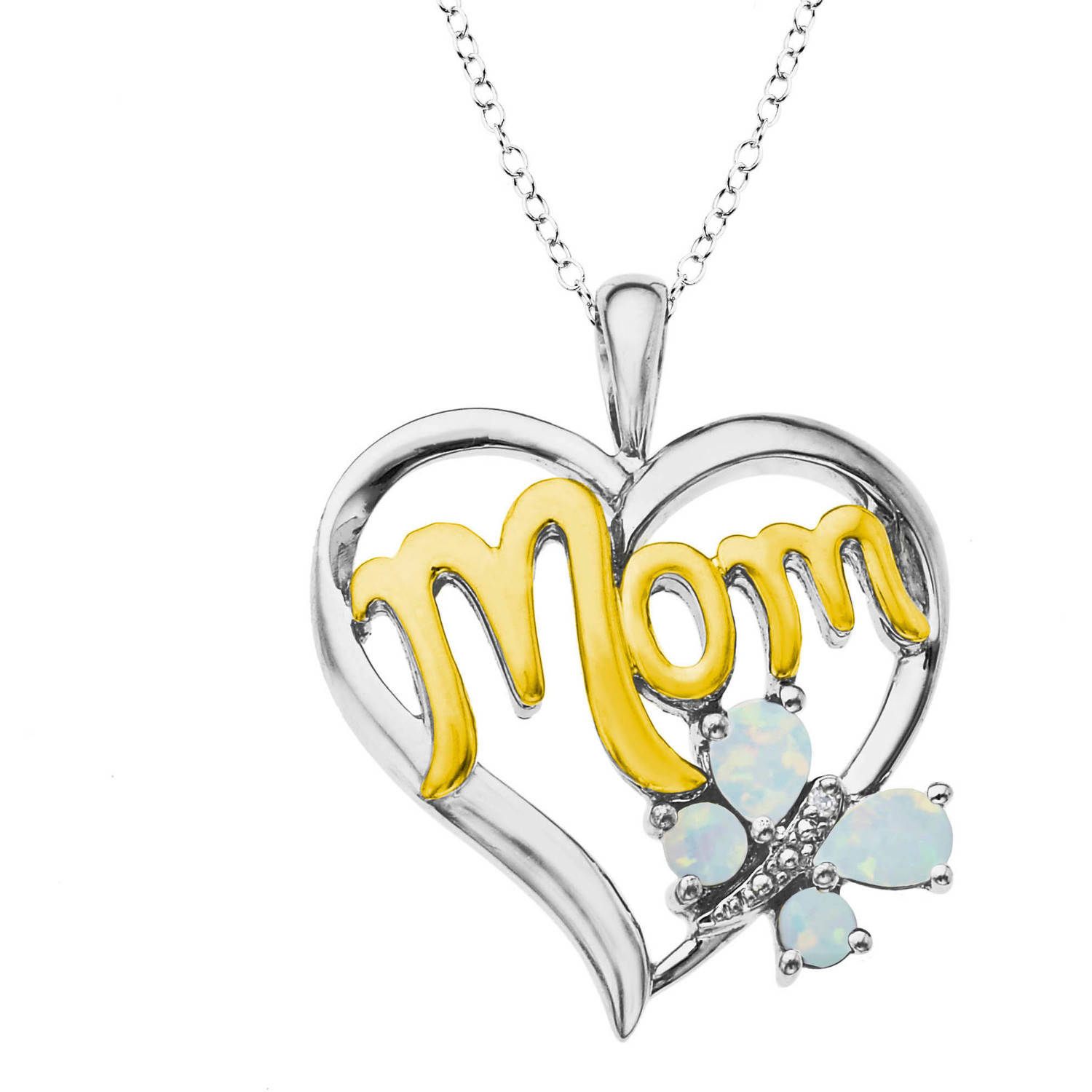 """Sterling Silver Created Opal with Diamond Accent Heart """"Mom"""" Pendant, 18"""""""