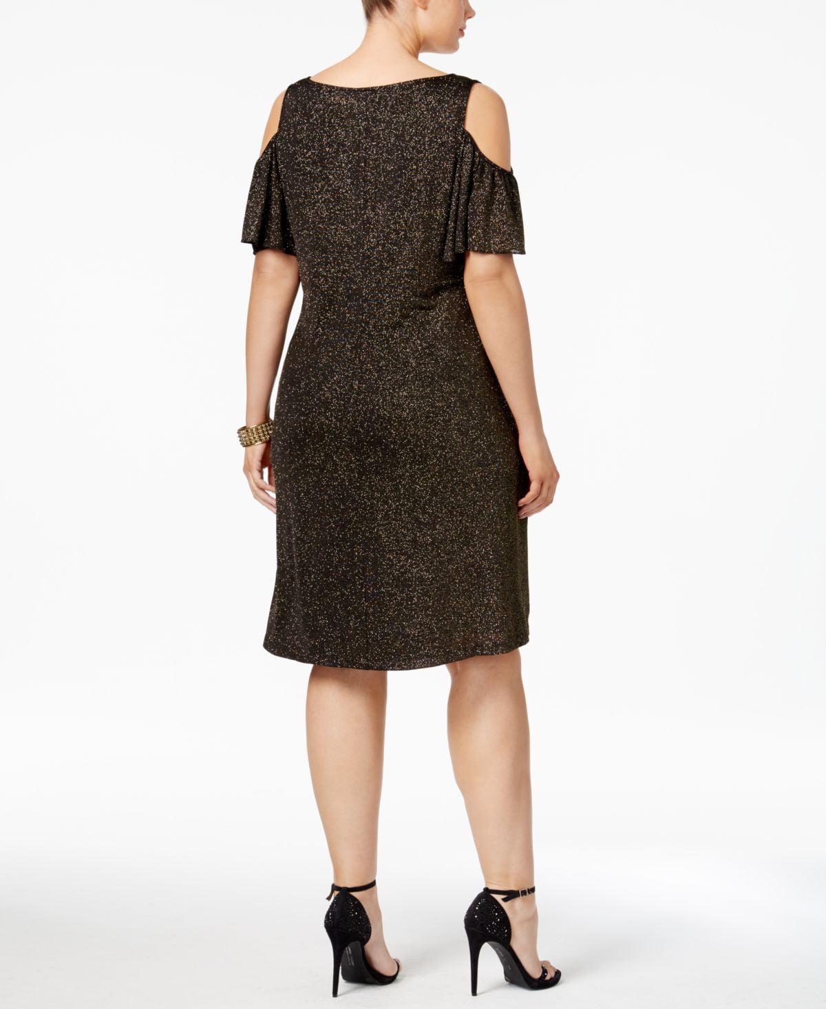 Msk Plus Size Cold-Shoulder Glitter Dress