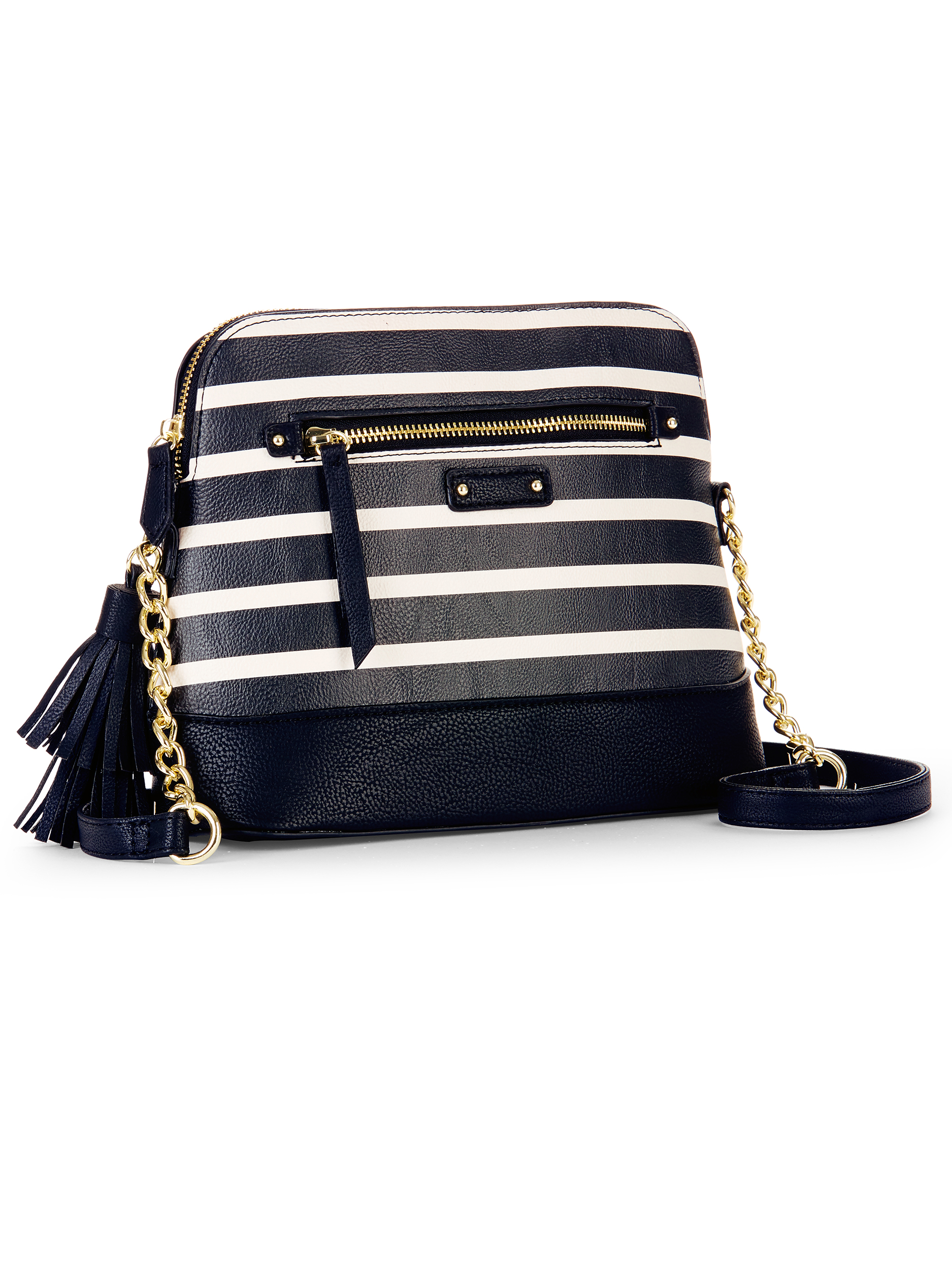 No Boundaries Black Stripe Half Moon Crossbody Bag