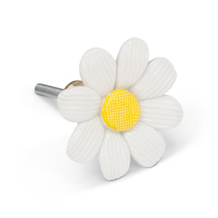 Sculpted Daisy Flower Drawer Knob Pull Ceramic (Daisy Flower Knob)