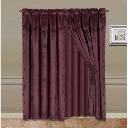 NADA BURGUNDY COMPLETE WINDOW CURTAIN SET 2 panels faux silk  LEAF FLORAL 2 PANEL solid SHEER 2 attached VALANCE 2 TASSEL THICK HEAVY WINDOW CURTAIN drape 63