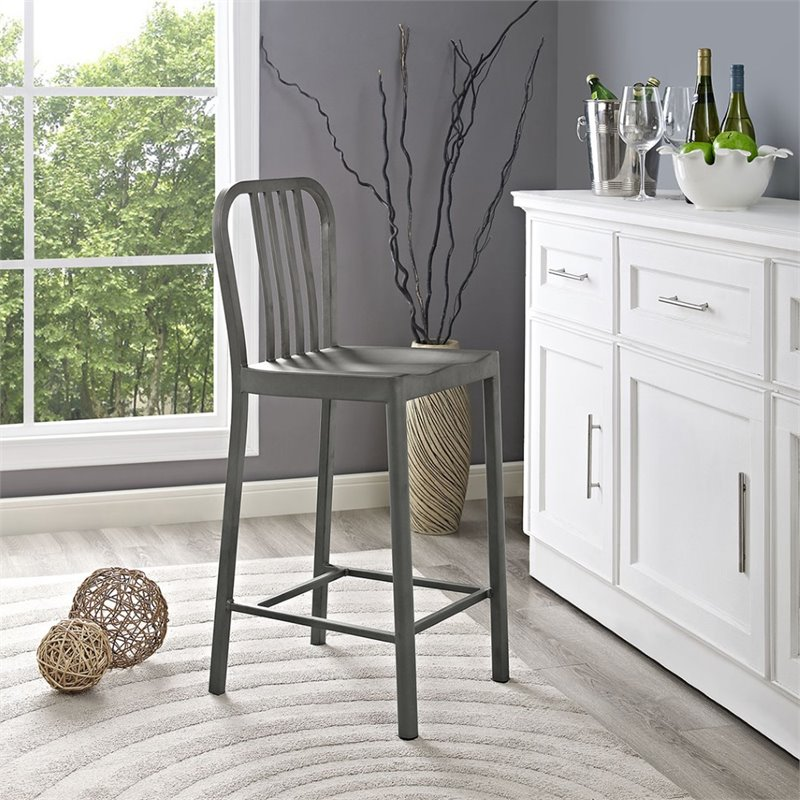 "Hawthorne Collections 26"" Metal Counter Stool in Silver - image 2 of 4"