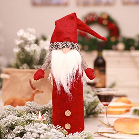 Christmas Wine Bottle Cover, Handmade Wine Bottle Toppers Santa Claus Bottle Bags with Drawstring Style Holiday Home Christmas Decorations Gift 3 Pack - image 9 de 10