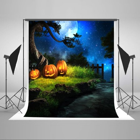 HelloDecor Polyester Fabric 5x7ft Halloween Photo Backdrops for Photographers Children Backdrop Shimmer Star Blue Sky Photography Backgrounds](Orange Halloween Background)