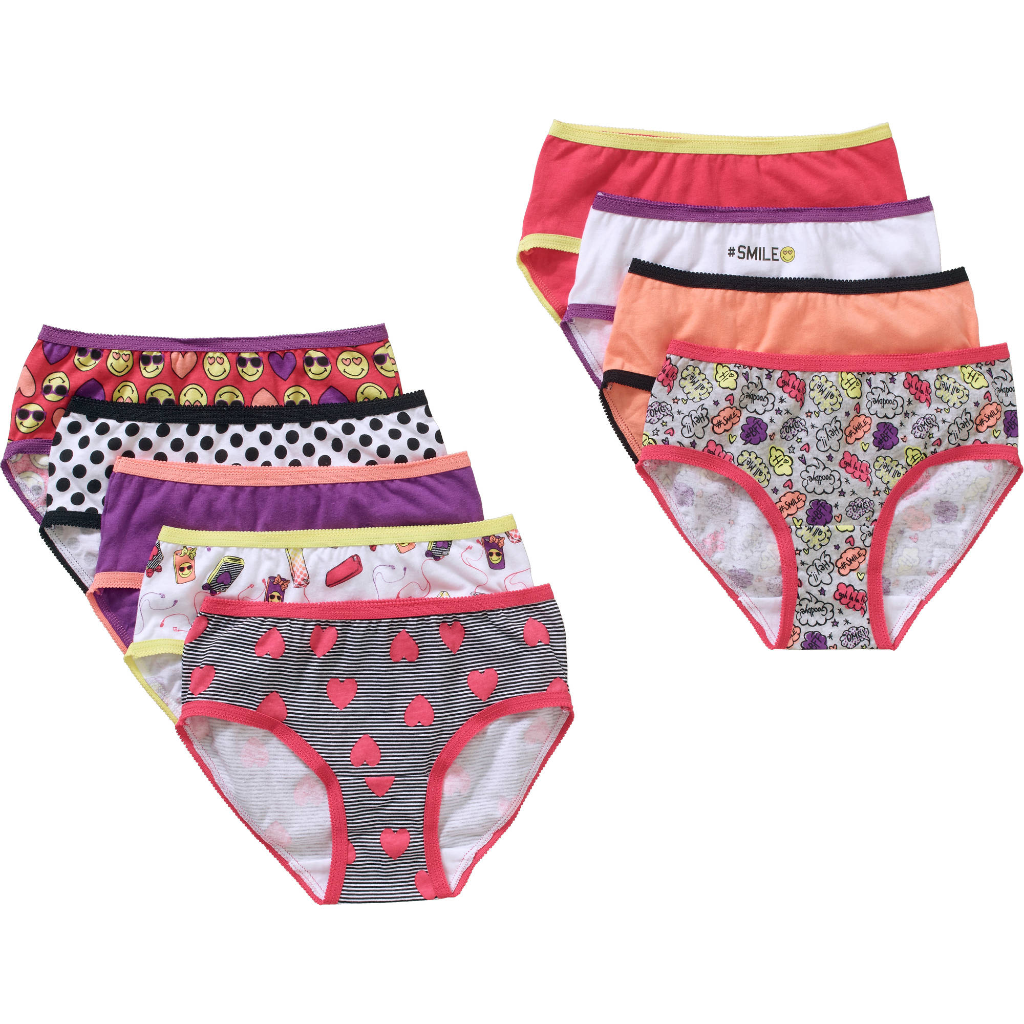 Faded Glory Girls' Cotton Hipster Panty 9 Pack