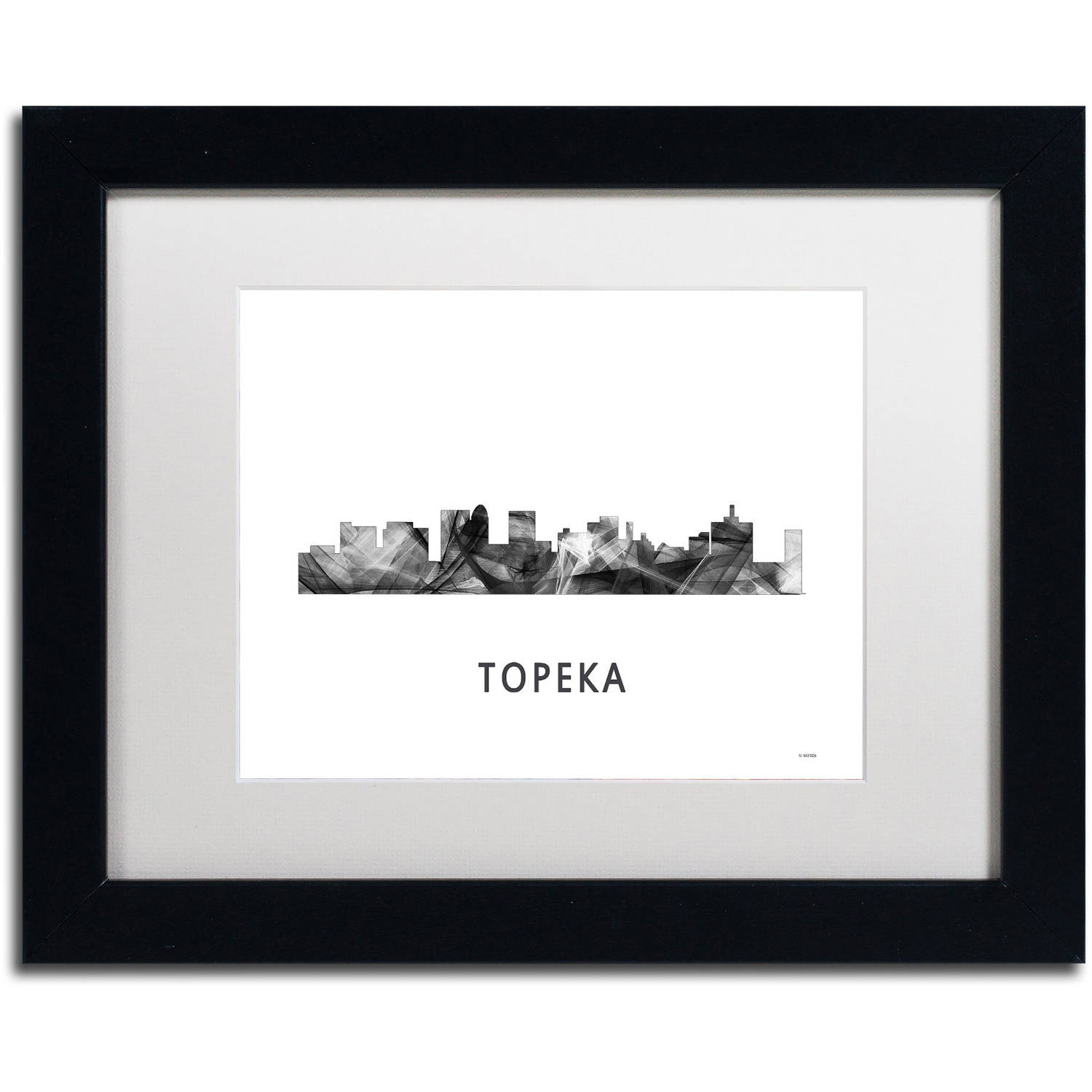 Trademark Fine Art 'Topeka Kansas Skyline WB-BW' Canvas Art by Marlene Watson, White Matte, Black Frame