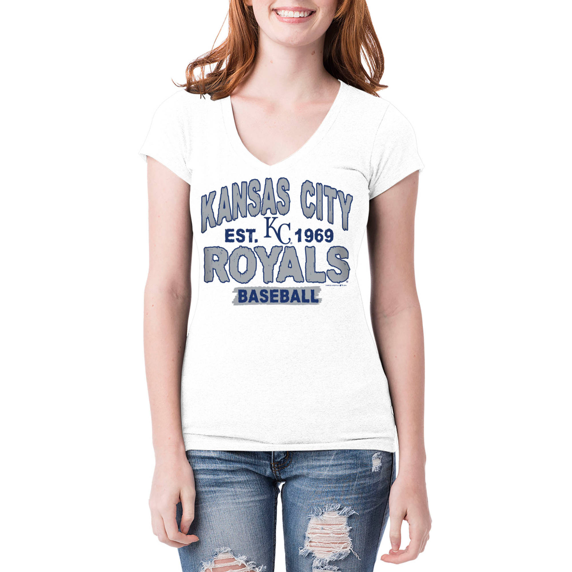 Kansas City Royals Womens Short Sleeve White Graphic Tee