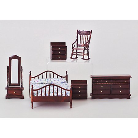 Mahogany Master Bedroom Dollhouse Miniature Set