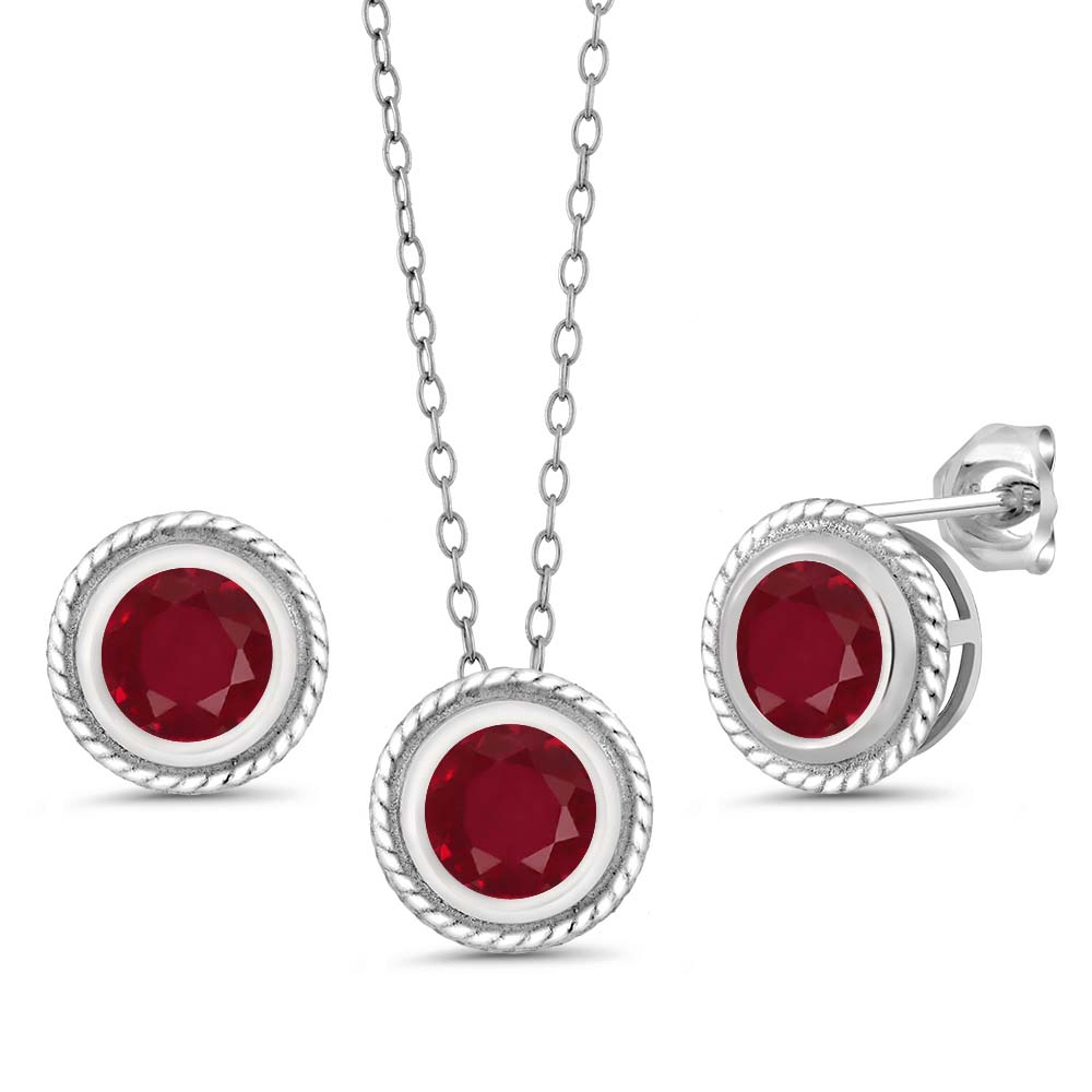 4.20 Ct Genuine Round Red Ruby Gemstone Sterling Silver Pendant Earrings Set by