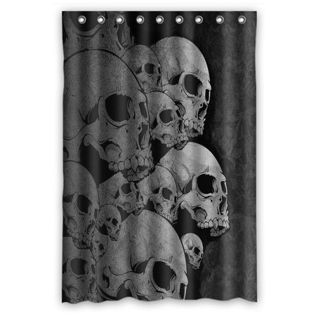 GCKG Creative Skull Bathroom Shower Curtain Rings Included 100 Polyester Waterproof 48x72 Inches