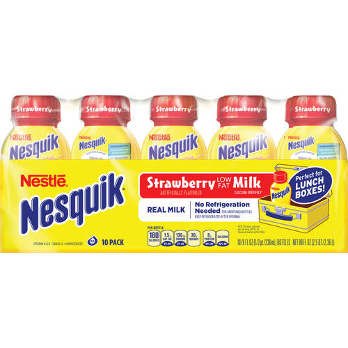 Nestle Nesquik Strawberry Lowfat Milk, 8 fl oz, 10 ct