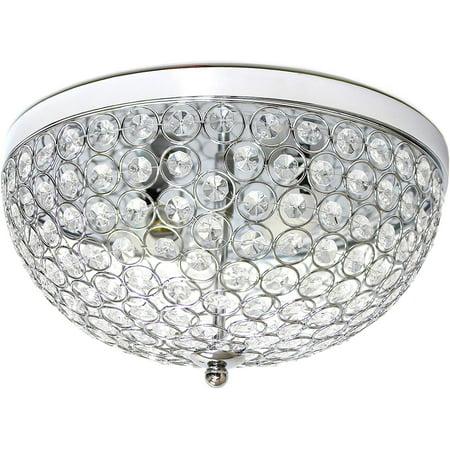 2 Light Modern Silver Chic Crystal Flush Mount Ceiling Fixture Modern Crystal Flush