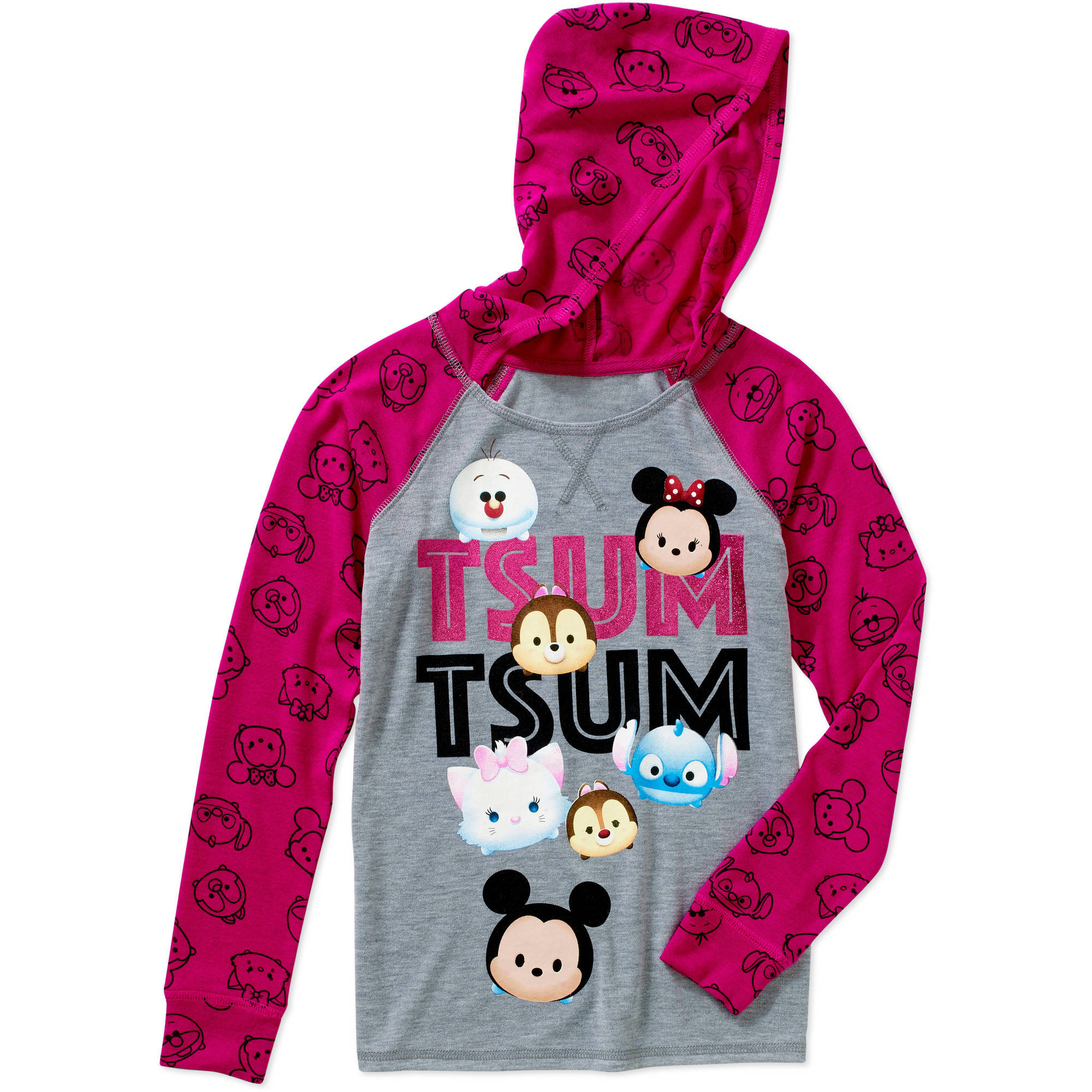 Tsum Tsum Girls' Tsum Tsum Squad Long Sleeve Hacci Top with Hood