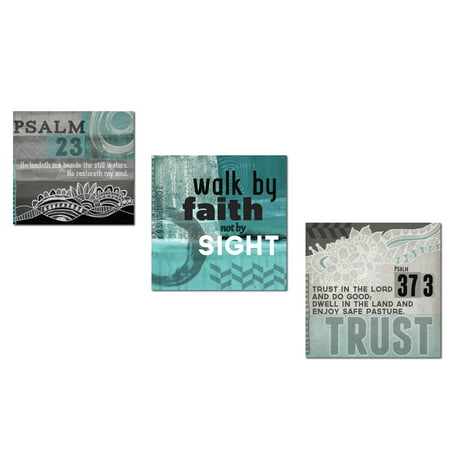 Inspirational Teal And Grey Psalm 23  2 Corinthians 5 7 And Psalm 37 3 Religious Decor  Three 12X12in Unframed Paper Posters