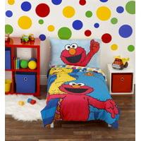 Sesame Street Sesame Street Best Friends Blue and Red 4 Piece Toddler Bed Set