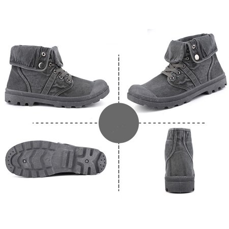 Men's High Top Canvas Sneaker Flanging Ankle Mid-Calf Boots Vintage Shoes - image 2 of 5