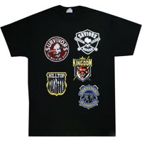 The Walking Dead Faction Patches Collection Men's Black Shirt