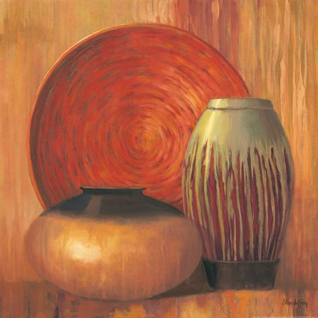 Ceramic Study II - Mini Awesome Vintage Fire Orange Quality Best Harvest Gold Poster