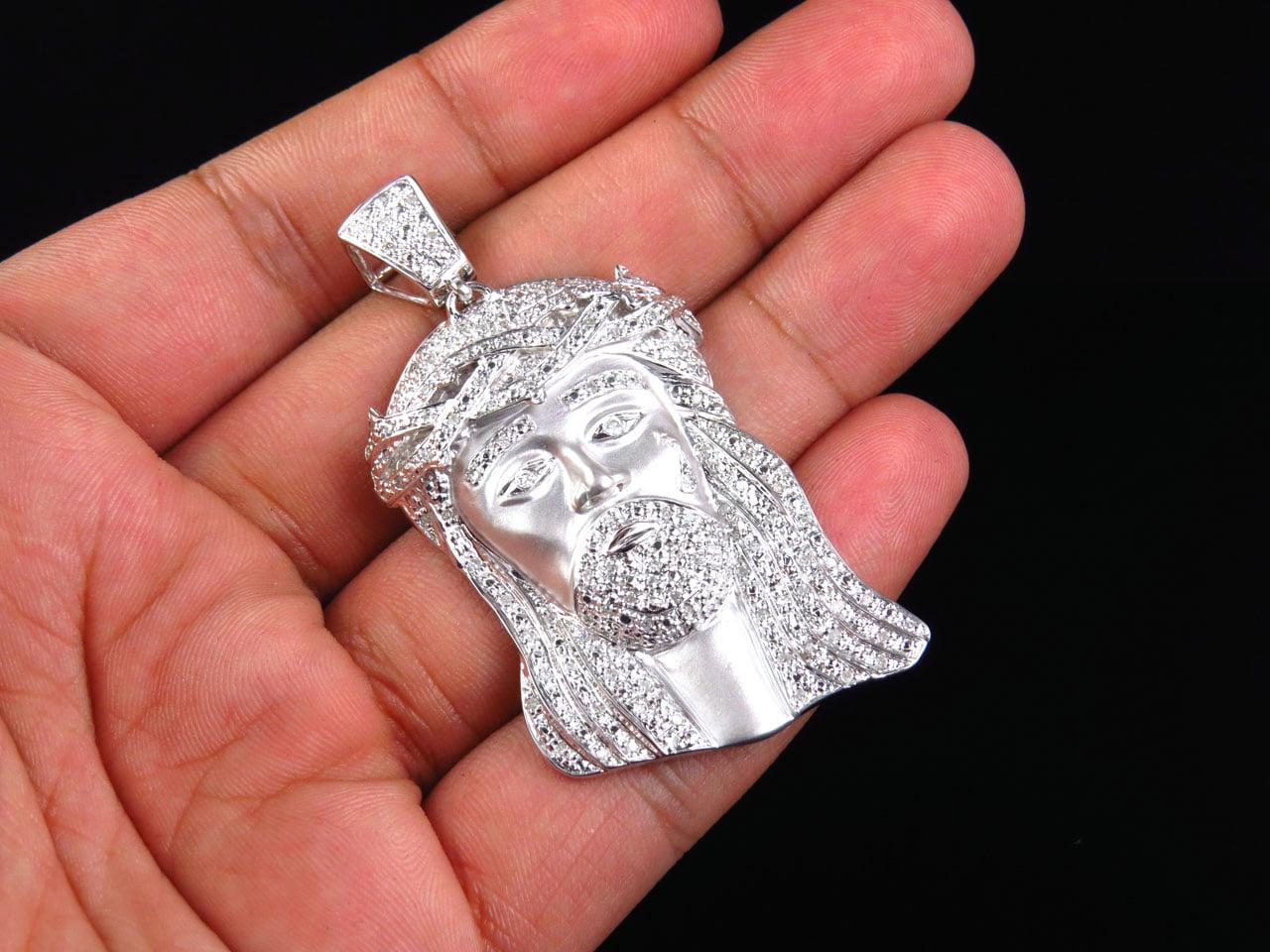 Genuine diamond matte jesus pendant in 10k white gold 1 ct genuine diamond matte jesus pendant in 10k white gold 1 ct walmart aloadofball Image collections