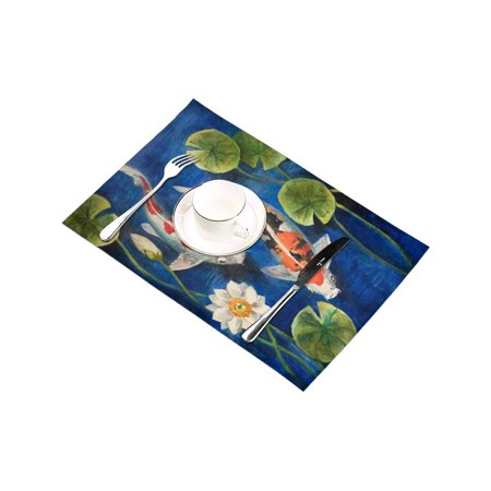 YUSDECOR Colorful Koi Fish with Lotus in A Pond Painting Placemats Table Mats for Dining Room Kitchen Table Decoration 12x18 inch,Set of 6 - image 3 of 4