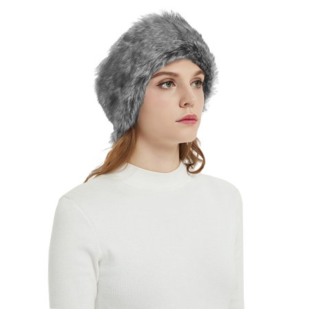 Aurya Faux Fur Headbands Outdoor Ear Warmers Earmuffs Ski Hat Winter Warm Elastic Hairbands Head Wraps for - Fur Headband
