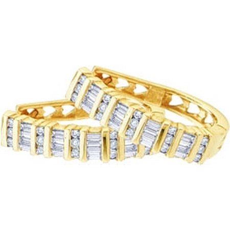 Solid 10k Yellow Gold Round Baguette White Diamond Heart Invisible & Channel Set Hoop Earrings (.93 cttw)
