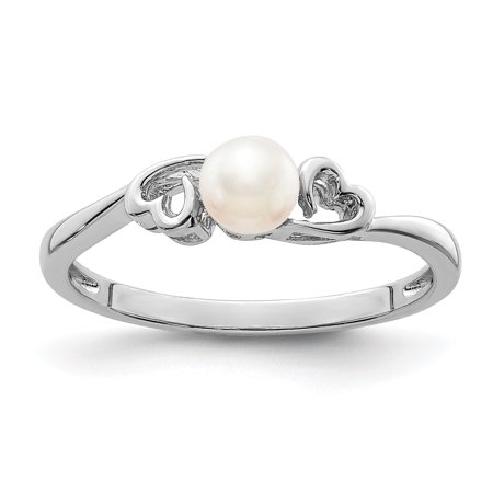 Gemstone Silver Designer Bands (925 Sterling Silver Freshwater Cultured Pearl Band Ring Size 5.00 Birthstone June Gemstone Gifts For Women For Her )