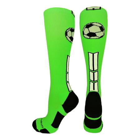 Neon Green Socks (Soccer Socks with Soccer Ball Logo Over the Calf (Neon Green/Black/White, Large) - Neon)