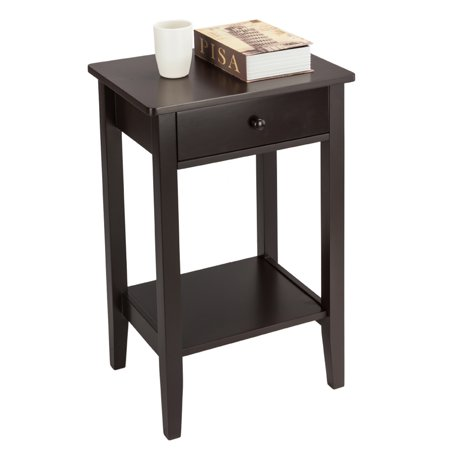 Lowestbest 2-layer Bedside Table Coffee Table with Drawer, Coffee End Table Bedside Nightstand with Shelf, Coffee