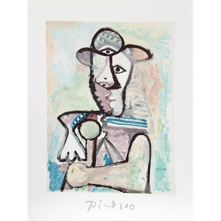 Pablo Picasso 2373 Buste De Homme  44  Lithograph On Paper 29 In  X 22 In    Pink  44  Blue  44  Gray