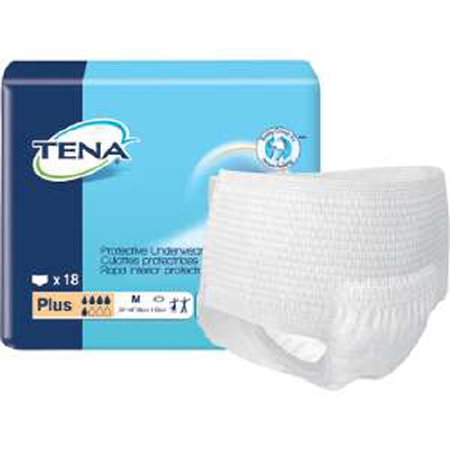 TENA Plus Adult Absorbent Underwear Pull On, Disposable, Heavy Absorbency, Medium, 34'' - 44'', Pack of 18