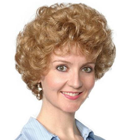 Fashion women short curly Kelly wig](Old Lady Wig)