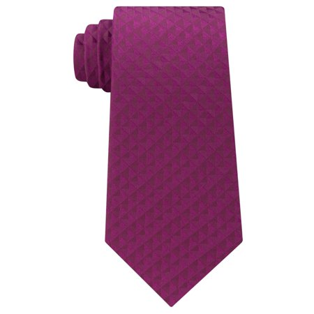 Calvin Klein Mens Optic Geometric Self-tied Necktie, Pink, One Size