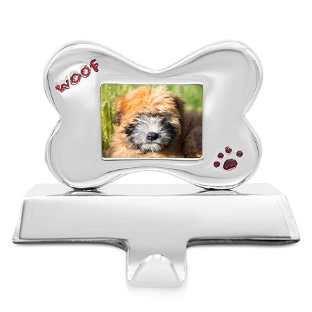 "BIRDROCK HOME Dog Frame Stocking Holder | Holiday Greetings Mantle Fireplace Topper | Decorative Christmas Stocking Holder | Stainless Steel | 1.75"" x 2.25"" Photo ()"
