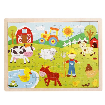 Guidecraft Educational Puzzle - 60-Piece Farm Wooden Jigsaw Puzzle Baby Kids Children Educational Toy