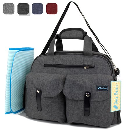 JOIE BEAN Baby Diaper Tote Bag with Changing Mat and Insulated Pockets, Large Capacity Travel Baby Bag with Stroller Straps, Multi-Function Maternity Nappy