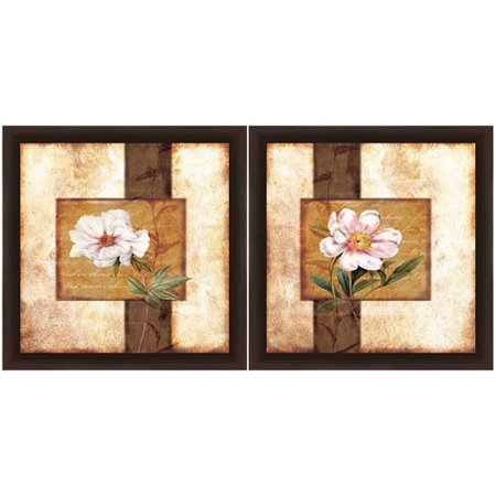 vintage flower floral wall art set of 2. Black Bedroom Furniture Sets. Home Design Ideas