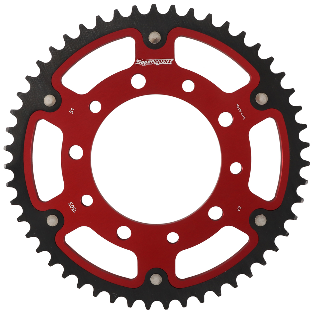 New Supersprox - Red Stealth Sprocket, 51T, Chain Size 520, Rst-1303-51-Red