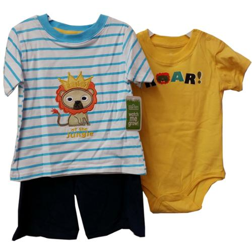 Baby Boys Yellow Onesie Lion T-shirt Summer Shorts 3 Pcs Outfit Set 24M