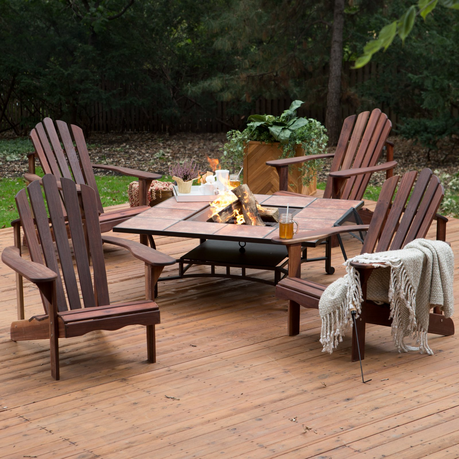 Belham Living Richmond Deluxe 5 Piece Adirondack Chair Fire Pit Chat Set : adirondack chairs and table set - pezcame.com