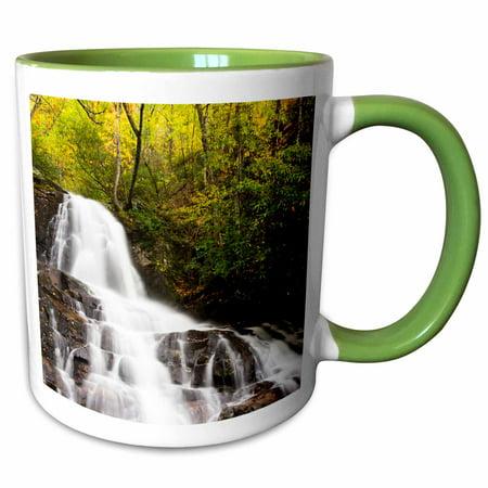 3dRose Tennessee, Great Smoky Mountains, Laurel Falls - Two Tone Green Mug, -