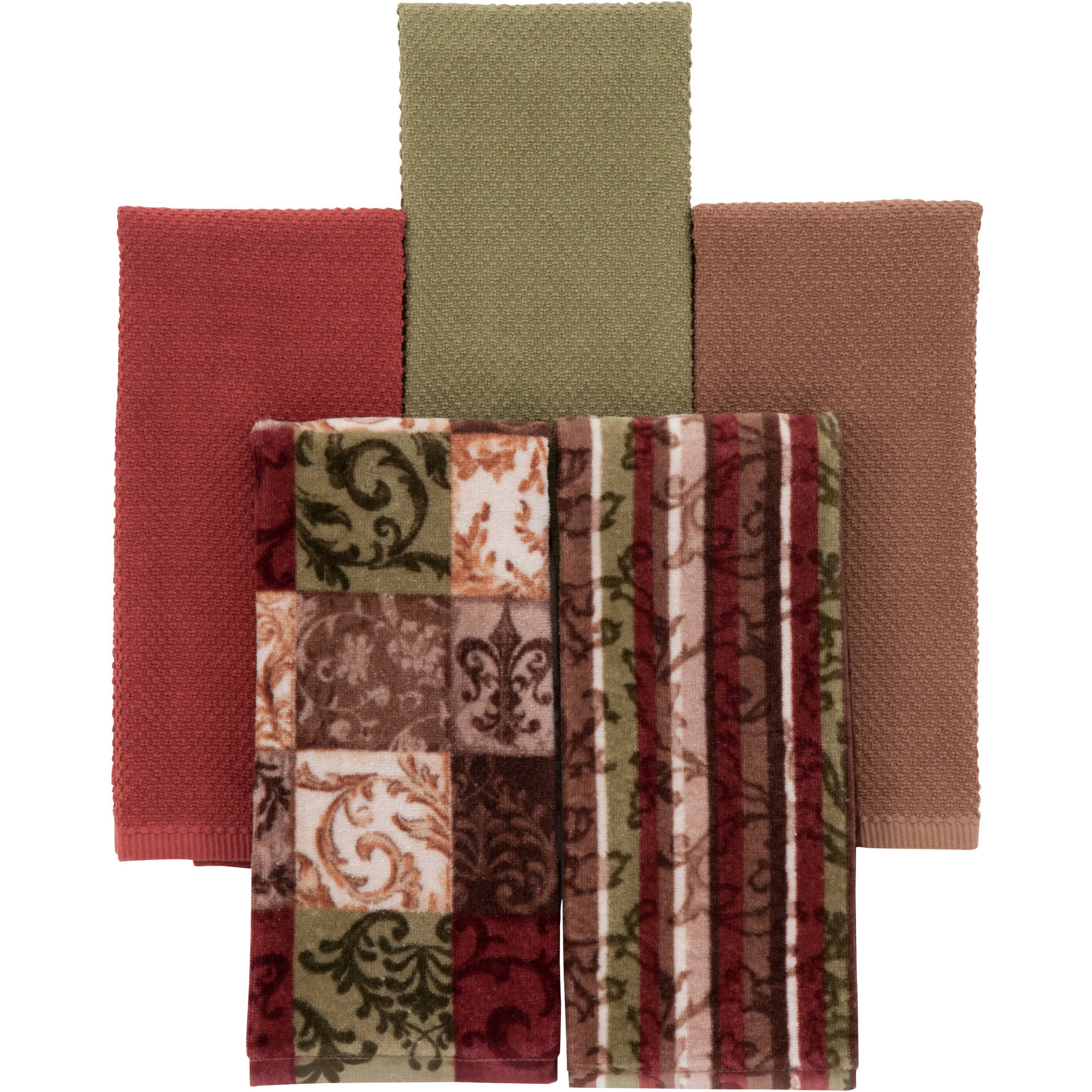 Mainstays Tuscany 5 Pack Kitchen Towels   Walmart.com