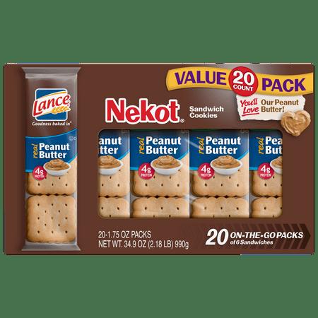 (2 Pack) Lance Nekot Cookie Sandwiches, Peanut Butter - 20 - Luau Cookies