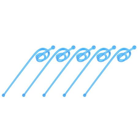 Household Plastic Tea Juice Stirring Rod Swirl Swizzle Sticks Stirrers Blue 5pcs (Party Swizzle)
