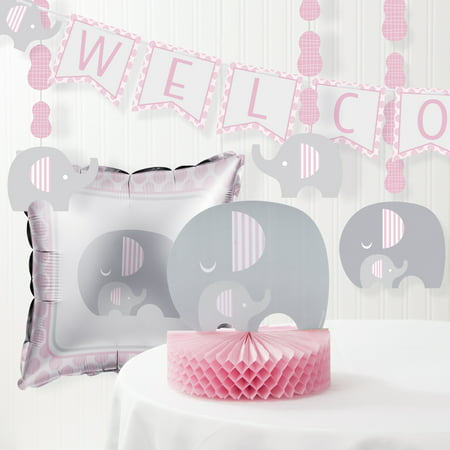 Little Peanut Girl Elephant Baby Shower Decorations Kit (Pink Gray Elephant Baby Shower)