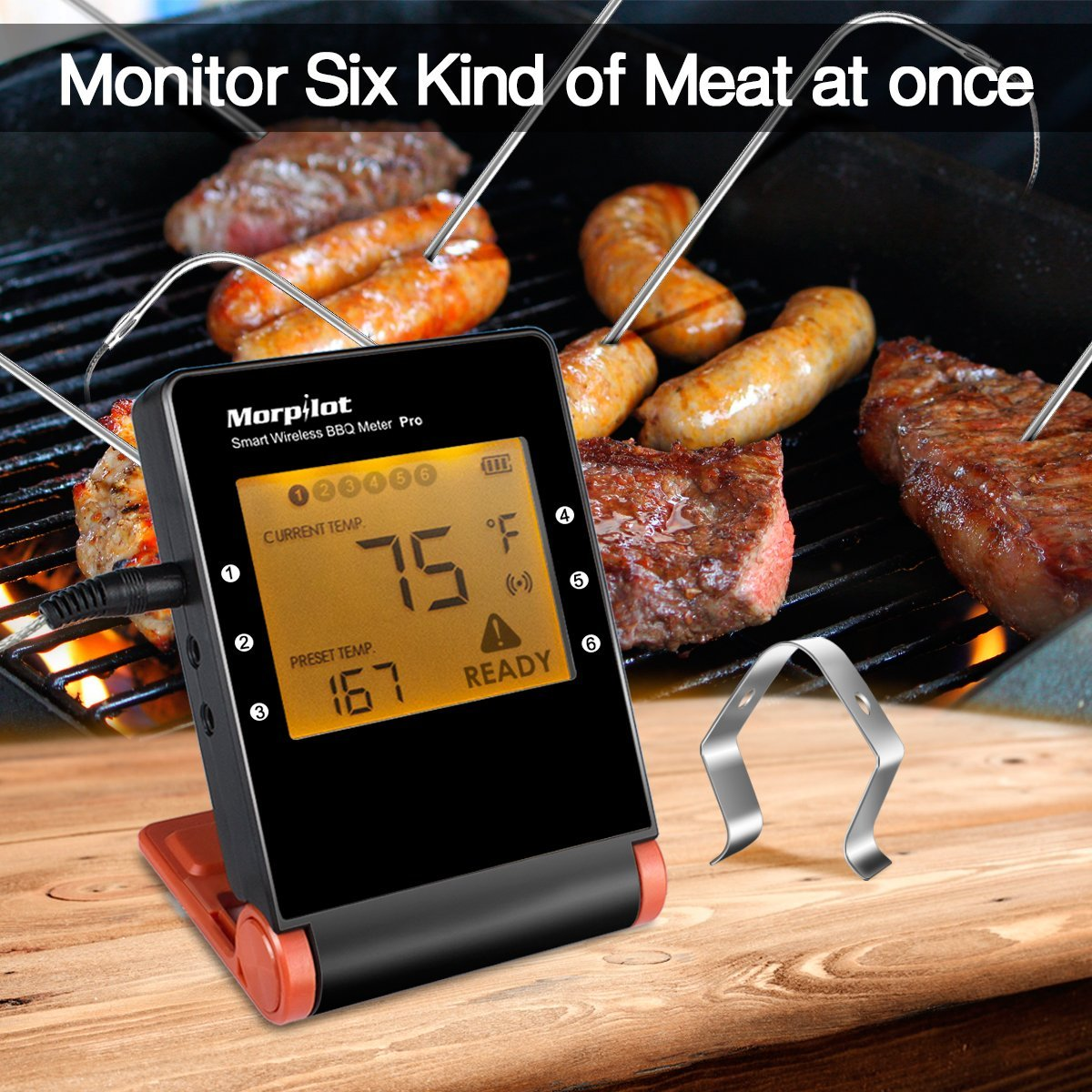 BBQ meat Thermometer Smart Bluetooth Wireless Remote Digital Kitchen Cooking Food Meat Thermometer 6 channel 6 probes