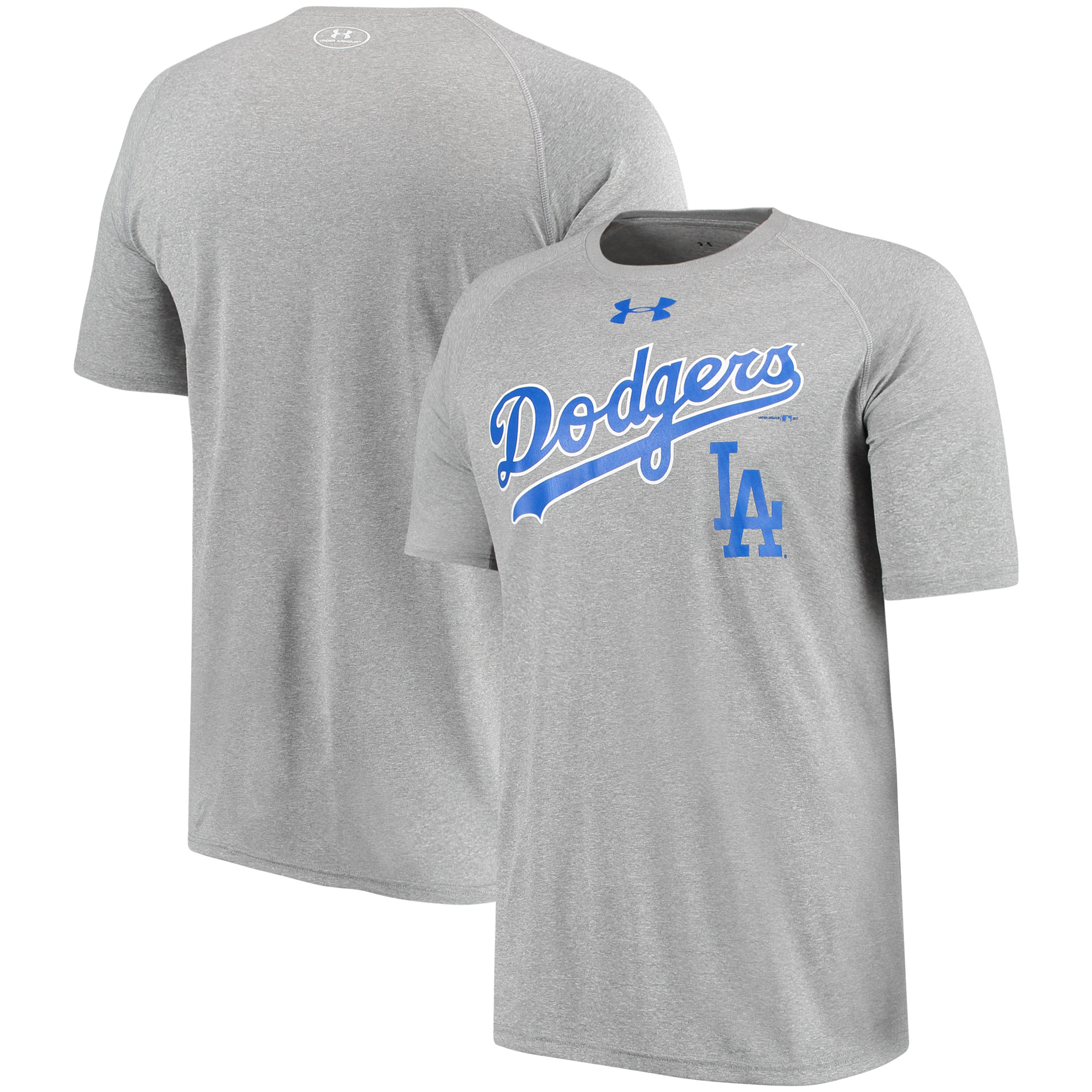 Los Angeles Dodgers Under Armour Tech Performance Raglan Sleeve T-Shirt - Gray