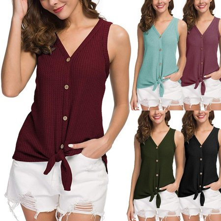005f71f33a43 Vista - Womens V Neck Sleeveless Waffle Knit Tunic Blouse Tie Knot Henley  Tops Loose Fitting Plain Shirts - Walmart.com